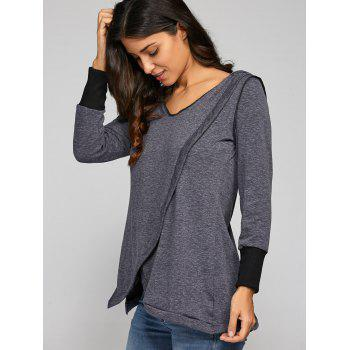 Back Cross Hooded T-Shirt - DEEP GRAY S