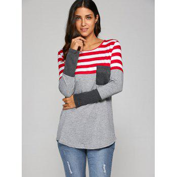 Pocket Patchwork Strip T-Shirt - GRAY XL