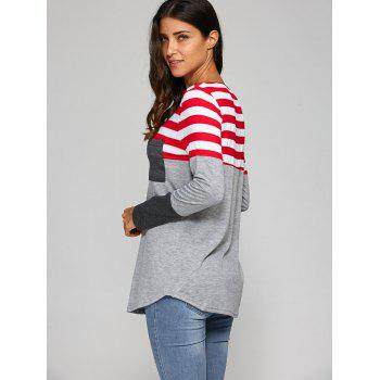 Pocket Patchwork Strip T-Shirt - GRAY L