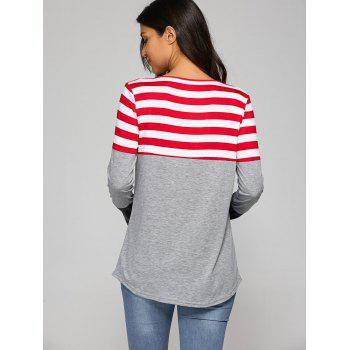 Pocket Patchwork Strip T-Shirt - L L