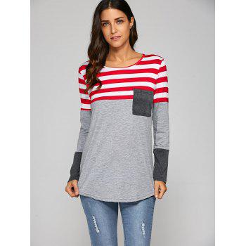 Pocket Patchwork Strip T-Shirt - GRAY M