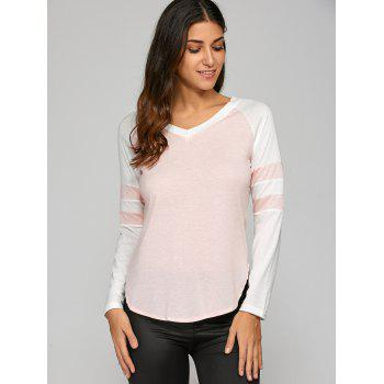 Color Block T-Shirt - SHALLOW PINK S