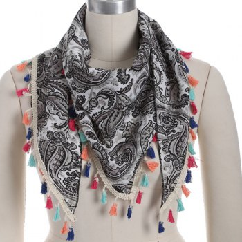 Arab Print Colorful Tassel Chiffon Triangle Scarf