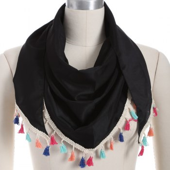 Colorful Tassel Chiffon Triangle Scarf