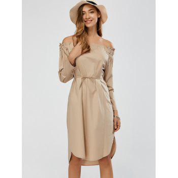 Ruched Off Shoulder Tie Waist Dress