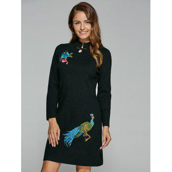 Vintage Peony Peacock Embroidery Chinese Dress - BLACK BLACK