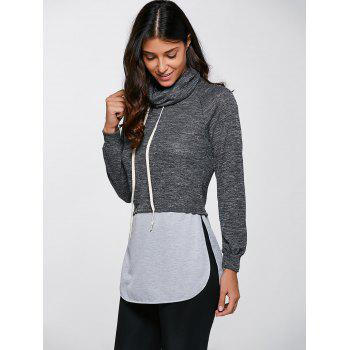 Casual Turtleneck Slit Sweatshirt - gris S