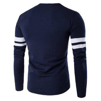 Lonely Print Varsity Stripe Long Sleeve T-Shirt - CADETBLUE M