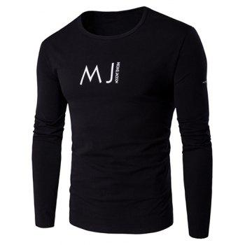 Round Neck Long Sleeve MJ Printed T-Shirt