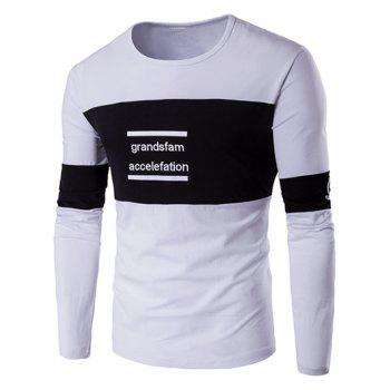 Long Sleeve Color Block Letter Printed T-Shirt