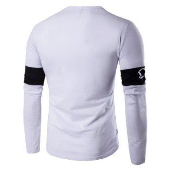 Long Sleeve Color Block Letter Printed T-Shirt - WHITE XL