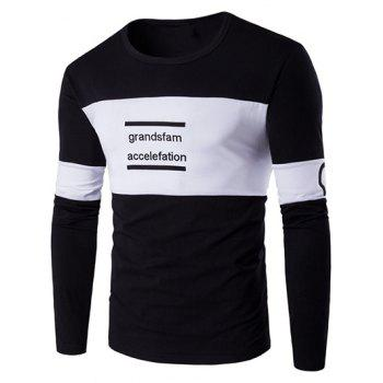 Buy Long Sleeve Color Block Letter Printed T-Shirt BLACK