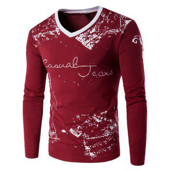 V-Neck Long Sleeve Scrawl Printed T-Shirt