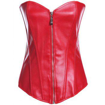 Zippered Faux Leather Lace-Up Corset