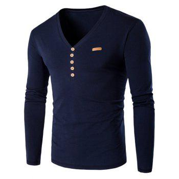 V-Neck Long Sleeve Patch Design Henley Shirt