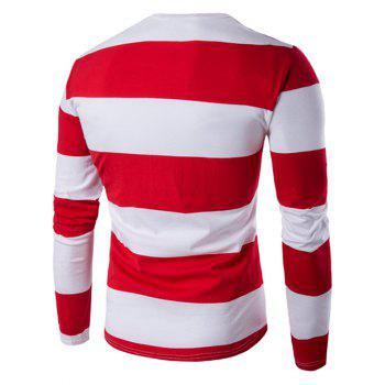 Maillot Col rond manches longues rayé - Rouge 3XL