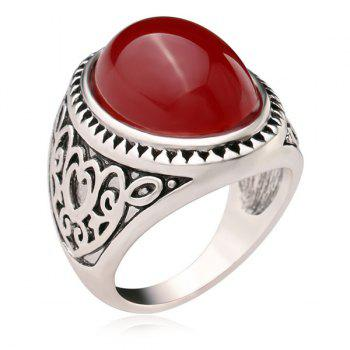 Artificial Gem Oval Engraved Heart Ring