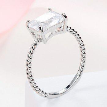 Twist Circle Geometric Faux Diamond Ring - SILVER ONE-SIZE