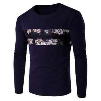 Round Neck Long Sleeve Floral Pattern T-Shirt