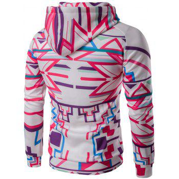 Abstract Geometric Print Pullover Hoodie - WHITE 2XL