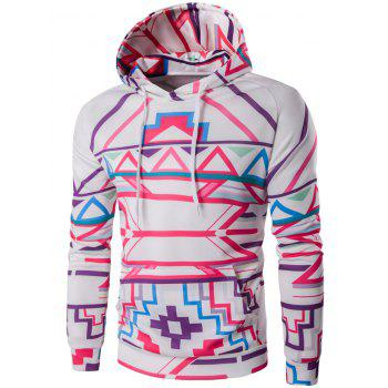 Abstract Geometric Print Pullover Hoodie