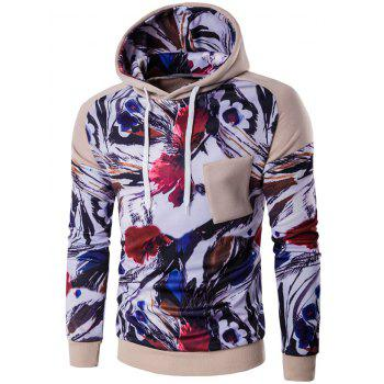 Floral Print Color Block Applique Pullover Hoodie