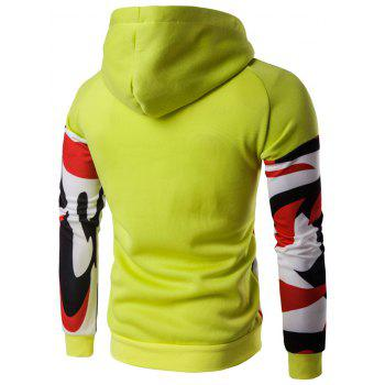 Color Block Abstract Print Pullover Hoodie - YELLOW XL