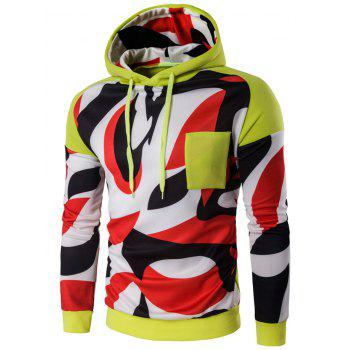 Color Block Abstract Print Pullover Hoodie