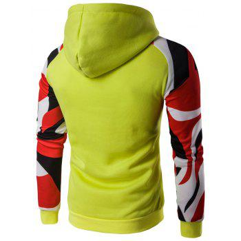 Raglan Sleeve Abstract Printed Pullover Hoodie - YELLOW XL