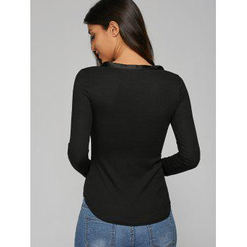 Plunging Neck Ribbed T-Shirt - BLACK BLACK