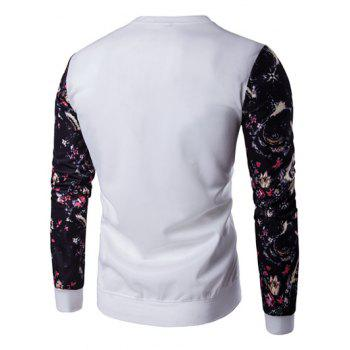Animal Embroidery Floral Print Spliced Sweatshirt - WHITE L