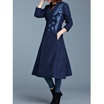 One Button Embroidered Pocket Design Coat