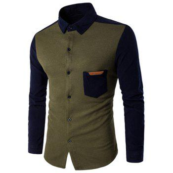 Color Block Long Sleeve Spliced Pocket Shirt