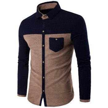 Pocket Design Two Tone Corduroy Shirt