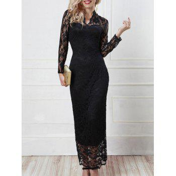 See-Through Openwork Slimming Dress