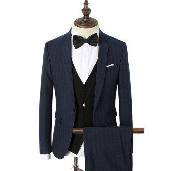 Single Breasted Lapel Collar Striped Twinset Suit