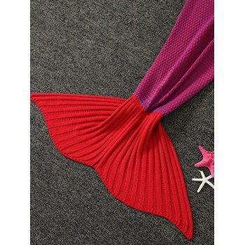 Thicken Warm Little Dot Design Wrap Mermaid Tail Blanket For Kids -  RED