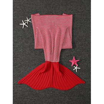 Thicken Warm Little Dot Design Wrap Mermaid Tail Blanket For Kids -  JACINTH