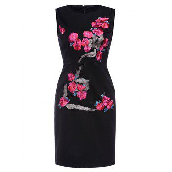 Flower Embroidered Fitted Sheath Dress