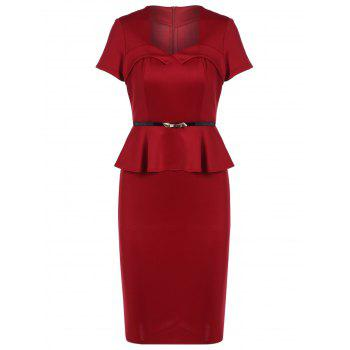 Belted Peplum Bodycon Dress