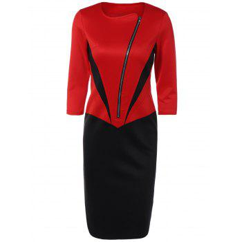 Color Block Zipper Bodycon Dress With Sleeves