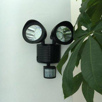 Waterproof Outdoor Decorative LED Solar Garden Lights Induction Double Wall Lamp -  BLACK