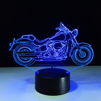 Festival 3D USB Motorcycle Shape Touch Colorful Night Light - TRANSPARENT TRANSPARENT
