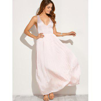Backless Maxi Floor Length Pleated Wedding Guest Prom Dress
