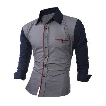 Casual Color Splicing Shirt Collar Long Sleeve Shirt