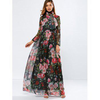 Vintage Chiffon Long Sleeve Floral Print Floor Length Maxi Prom Dress - BLACK BLACK