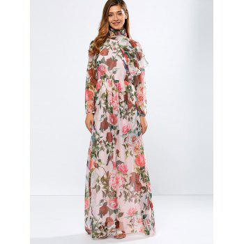 Vintage Chiffon Long Sleeve Floral Print Floor Length Maxi Prom Dress - PINK L
