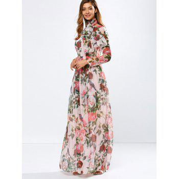 Vintage Chiffon Long Sleeve Floral Print Floor Length Maxi Prom Dress - L L