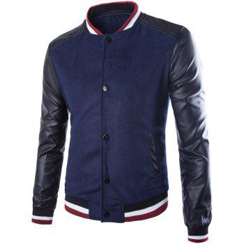 Stand Collar PU Leather Splicing Rib Jacket