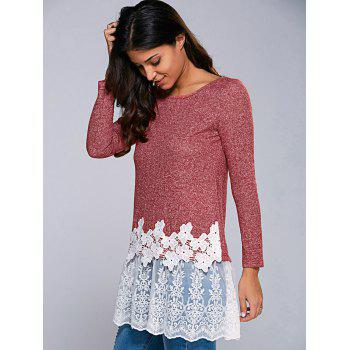 Heather Lace Hem Blouse - RED/WHITE RED/WHITE